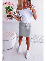 cheap -Women's A Line Dress Short Mini Dress flecking gray Black Short Sleeve Floral Solid Color Lace Summer Round Neck Active Sporty Look S M L XL