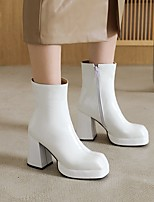 cheap -Women's Boots Chunky Heel Round Toe Booties Ankle Boots Patent Leather Solid Colored Light Red White Black / Booties / Ankle Boots