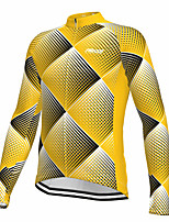 cheap -21Grams Men's Long Sleeve Cycling Jersey Spandex Polyester Yellow Polka Dot Funny Bike Top Mountain Bike MTB Road Bike Cycling Quick Dry Moisture Wicking Breathable Sports Clothing Apparel