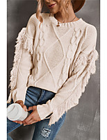 cheap -Women's Pullover Sweater with Tassel Solid Color Elegant Casual Long Sleeve Sweater Cardigans Round Neck Fall Winter Blushing Pink Grey khaki / Holiday