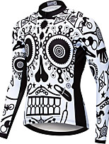 cheap -21Grams Men's Long Sleeve Cycling Jersey Spandex Polyester Black+White Skull Gear Funny Bike Top Mountain Bike MTB Road Bike Cycling Quick Dry Moisture Wicking Breathable Sports Clothing Apparel