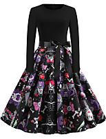cheap -Pumpkin Audrey Hepburn Dress Swing Dress Adults' Women's Vintage Festival Halloween New Year Festival / Holiday Terylene Red+Black / Black / Orange / Purple Women's Easy Carnival Costumes Skull