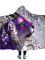 cheap -New Style Blanket With Hat Cloak Thick Double Layer Plush Blanket With Hood Digital Printing Tiger Series