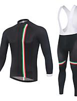 cheap -CAWANFLY Men's Long Sleeve Cycling Jersey with Bib Tights Black+White Bike Sports Geometic Mountain Bike MTB Road Bike Cycling Clothing Apparel / Micro-elastic / Athleisure / Triathlon