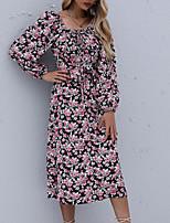 cheap -Women's A Line Dress Midi Dress Black Long Sleeve Floral Print Fall Square Neck Casual 2021 S M L XL
