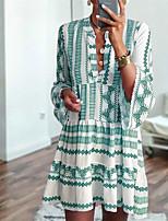 cheap -Women's A Line Dress Knee Length Dress Light Blue Dark Green Light Green Half Sleeve Print Modern Style Spring Summer Lapel Casual 2021 S M L XL XXL XXXL