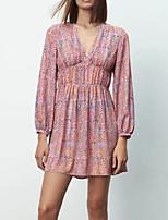 cheap -Women's A Line Dress Short Mini Dress Blushing Pink Long Sleeve Floral Print Fall V Neck Work Casual 2021 XS S M L