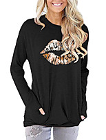 cheap -Women's Painting T shirt Floral Graphic Mouth Long Sleeve Print Round Neck Basic Vintage Tops Regular Fit Cotton Blushing Pink Green Light gray