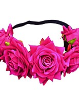 cheap -1 Piece 9cm Rose Wreath Hair Band Velvet Fabric Simulation Silk Flower Horn Rose Foreign Trade Hair Accessories Bridal Headdress