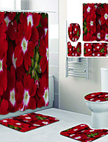 cheap -Beautiful Red Flowers Printed Bathroom Home Decoration Bathroom shower curtain lining waterproof shower curtain with 12 hooks floor mats and four-piece toilet mats.