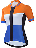 cheap -21Grams Women's Short Sleeve Cycling Jersey Summer Spandex Blue+Orange Color Block Bike Top Mountain Bike MTB Road Bike Cycling Quick Dry Moisture Wicking Sports Clothing Apparel / Stretchy