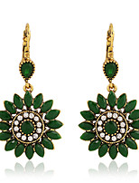 cheap -Women's Earrings Geometrical Floral Theme Joy Stylish Simple Earrings Jewelry Red / Blue / Green For Daily Holiday Promise 1 Pair
