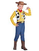 cheap -Uniforms Cowgirl Cosplay Costume Kid's Boys' Halloween Halloween Halloween Festival / Holiday Terylene Yellow+Blue Easy Carnival Costumes Plaid / Check / Leotard / Onesie / Scarf / Hat / Badge