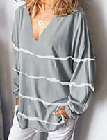 cheap -Women's T shirt Striped Long Sleeve Print V Neck Rock Tops Yellow Gray Green