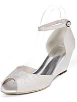 cheap -Women's Wedding Shoes Wedge Heel Peep Toe Wedding Pumps Wedding Lace Floral Light Purple Ivory White