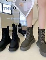 cheap -Women's Boots Round Toe PU Solid Colored Gray Black
