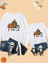 cheap -Halloween Tops Mommy and Me Cotton Leopard Pumpkin Letter Athleisure Print White Red Long Sleeve Basic Matching Outfits / Fall / Spring / Cute