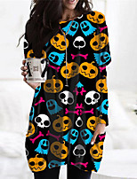 cheap -Women's Shift Dress Short Mini Dress Blue Black Long Sleeve Print Abstract Pocket Print Fall Winter Round Neck Casual Halloween Holiday Regular Fit 2021 S M L XL XXL 3XL