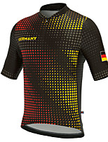 cheap -21Grams Men's Short Sleeve Cycling Jersey Summer Spandex Polyester Black Polka Dot Germany Funny Bike Top Mountain Bike MTB Road Bike Cycling Quick Dry Moisture Wicking Breathable Sports Clothing
