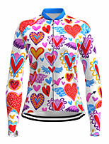 cheap -21Grams Women's Long Sleeve Cycling Jersey Spandex Polyester Red Heart Funny Bike Top Mountain Bike MTB Road Bike Cycling Quick Dry Moisture Wicking Breathable Sports Clothing Apparel / Stretchy
