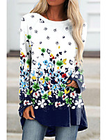 cheap -Women's Floral Theme Painting T shirt Floral Color Block Long Sleeve Print Round Neck Basic Tops Blue Purple Green