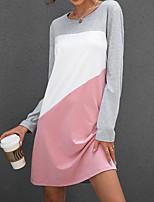 cheap -Women's T Shirt Dress Tee Dress Short Mini Dress Blushing Pink Long Sleeve Color Block Patchwork Fall Round Neck Casual 2021 S M L XL