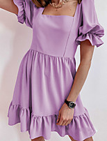cheap -Women's A Line Dress Short Mini Dress Purple Blushing Pink White Black Short Sleeve Solid Color Ruched Fall Boat Neck Casual 2021 S M L XL XXL / Long Sleeve
