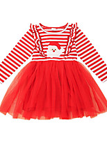 cheap -Kids Little Girls' Dress Striped A Line Dress Casual Daily Print Red Midi Long Sleeve Casual Cute Dresses Christmas Fall Winter Regular Fit 2-6 Years