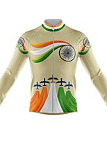 cheap -21Grams Men's Long Sleeve Cycling Jersey Spandex Yellow Rainbow 3D Bike Top Mountain Bike MTB Road Bike Cycling Quick Dry Moisture Wicking Sports Clothing Apparel / Stretchy / Athleisure