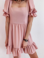 cheap -Women's A Line Dress Knee Length Dress Purple Blushing Pink Khaki Black Short Sleeve Solid Color Ruched Fall Summer Boat Neck Casual 2021 S M L XL XXL