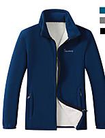 cheap -Men's Hiking Windbreaker Hiking Fleece Jacket Winter Outdoor Thermal Warm Windproof Fleece Lining Warm Winter Fleece Jacket Trench Coat Top Skiing Ski / Snowboard Fishing Dark Grey Royal Blue Black