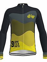 cheap -21Grams Men's Long Sleeve Cycling Jersey Spandex Yellow Gradient Bike Top Mountain Bike MTB Road Bike Cycling Quick Dry Moisture Wicking Sports Clothing Apparel / Athleisure