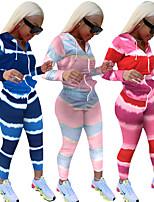 cheap -Women's Basic Streetwear Color Block Tie Dye Casual Daily Two Piece Set Hoodie Tracksuit Loungewear Jogger Pants Zipper Tops