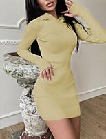 cheap -Women's Sweater Jumper Dress Short Mini Dress Light Blue Creamy-white Grey Black Red Brown Beige Long Sleeve Solid Color Modern Style Fall Winter Round Neck Casual 2021 S M L XL XXL XXXL