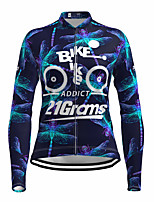 cheap -21Grams Women's Long Sleeve Cycling Jersey Spandex Polyester Black Fluorescent Funny Bike Top Mountain Bike MTB Road Bike Cycling Quick Dry Moisture Wicking Breathable Sports Clothing Apparel