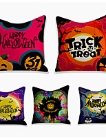 cheap -Halloween Double Side Cushion Cover 5PC Soft Decorative Square Throw Pillow Cover Cushion Case Pillowcase for Bedroom Livingroom Superior Quality Machine Washable Indoor Cushion for Sofa Couch Bed Chair Bat Pumpkin
