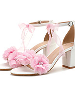 cheap -Women's Sandals Chunky Heel Open Toe Wedding Sandals Wedding Daily Faux Leather Rhinestone Satin Flower Solid Colored Blue Pink White