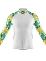 cheap -21Grams Men's Long Sleeve Cycling Jersey Spandex Polyester White Color Block Floral Botanical Funny Bike Top Mountain Bike MTB Road Bike Cycling Quick Dry Moisture Wicking Breathable Sports Clothing