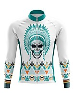 cheap -21Grams Men's Long Sleeve Cycling Jersey Spandex Polyester White 3D Geometic Skull Bike Top Mountain Bike MTB Road Bike Cycling Quick Dry Moisture Wicking Breathable Sports Clothing Apparel / Funny