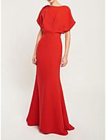 cheap -Mermaid / Trumpet Minimalist Elegant Engagement Formal Evening Dress Jewel Neck Short Sleeve Floor Length Stretch Fabric with Sleek 2021
