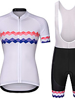 cheap -21Grams Women's Short Sleeve Cycling Jersey with Bib Shorts Summer Spandex White Stripes Bike Quick Dry Moisture Wicking Sports Stripes Mountain Bike MTB Road Bike Cycling Clothing Apparel / Stretchy