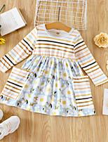 cheap -Kids Toddler Little Girls' Dress Striped Blue Long Sleeve Active Cute Dresses Loose