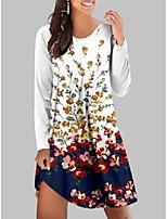 cheap -Women's A Line Dress Knee Length Dress Safflower on white Black flowers on white White-floral White-graffiti Black Red Long Sleeve Print Modern Style Fall Winter Round Neck Casual 2021 S M L XL XXL