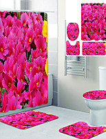 cheap -Delicate and Beautiful Flowers Printed Bathroom Home Decoration Bathroom Shower Curtain Lining Waterproof Shower Curtain with 12 Hooks Floor Mats and Four-Piece Toilet Mats.