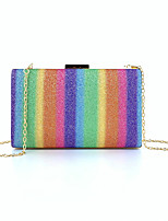 cheap -Women's Bags Polyester Evening Bag Sequin Chain Color Block Party Wedding Evening Bag Chain Bag Blue Rainbow