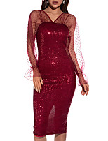 cheap -A-Line Elegant Vintage Holiday Party Wear Dress V Neck Long Sleeve Knee Length Tulle Polyster with Sequin Split Polka Dot 2021