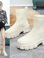 cheap -Women's Boots Platform Round Toe Tissage Volant Solid Colored Black Beige
