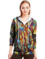 cheap -Women's Zip Up Hoodie Sweatshirt Outerwear Graphic Zipper Front Pocket Print Casual Daily 3D Print Basic Streetwear Hoodies Sweatshirts  Rainbow