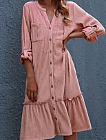 cheap -Women's A Line Dress Knee Length Dress Blushing Pink Long Sleeve Solid Color Ruched Fall V Neck Casual 2021 S M L XL