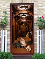 cheap -Halloween 2pcs Self-adhesive Hell Devil Door Sticker Living Room Diy Decoration Home Waterproof Wall Sticker 77x200cm